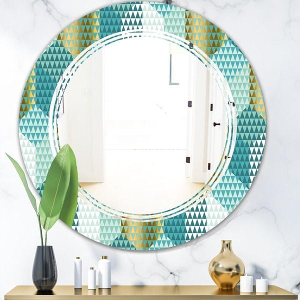Designart 'Retro Hexagon Pattern IV' Modern Round or Oval Wall Mirror - Triple C - Multi
