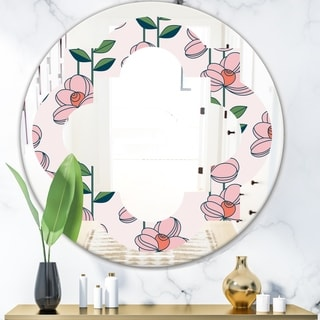 Designart 'Floral Botanical Retro XII' Cottage Round or Oval Wall Mirror - Quatrefoil