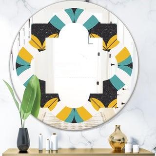 Designart 'Retro Abstract Design VII' Modern Round or Oval Wall Mirror - Quatrefoil