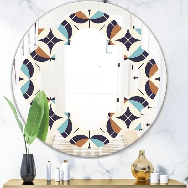 Designart 'Geometric Retro Design V' Modern Round or Oval Wall Mirror - Quatrefoil