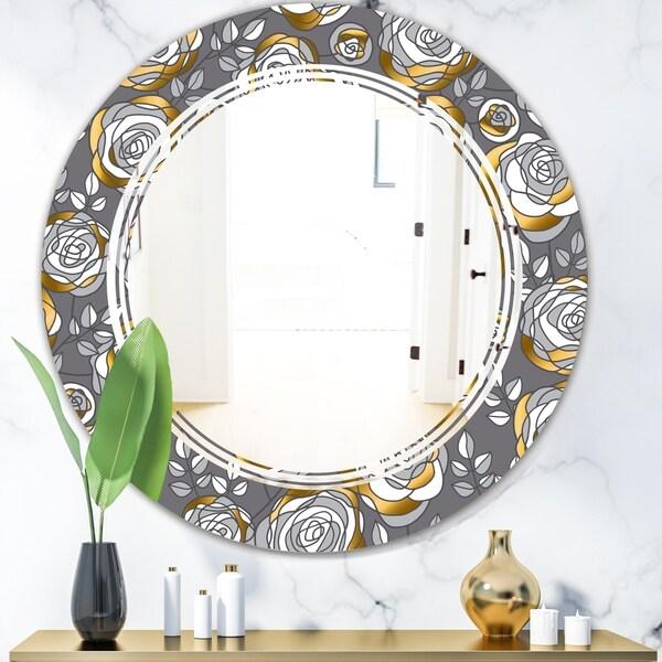 Designart 'Golden Rose Flowers' Modern Round or Oval Wall Mirror - Triple C