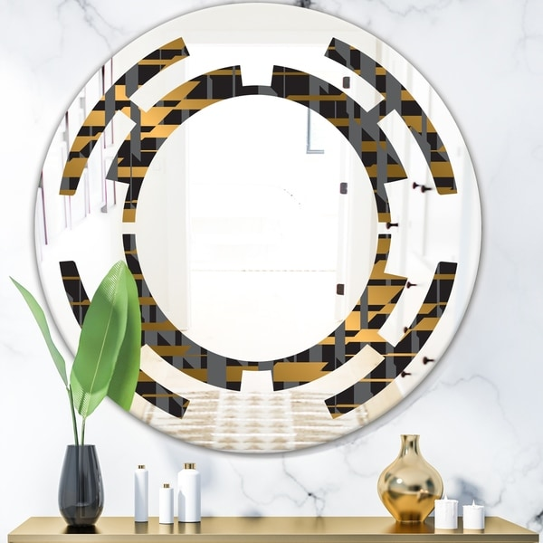 Designart 'Gold Checkered Pattern I' Modern Round or Oval Wall Mirror - Space