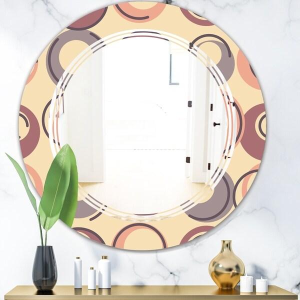 Designart 'Retro Geometric Pattern' Modern Round or Oval Wall Mirror - Triple C