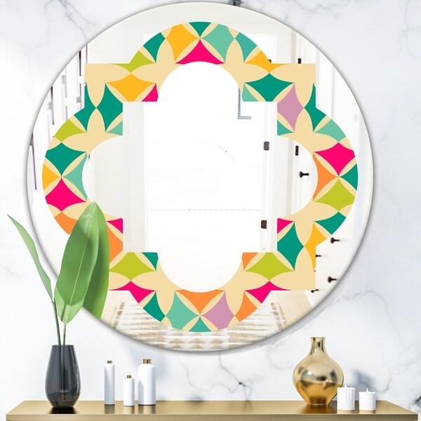 Designart 'Abstract Retro Geometric Pattern III' Modern Round or Oval Wall Mirror - Quatrefoil - Multi