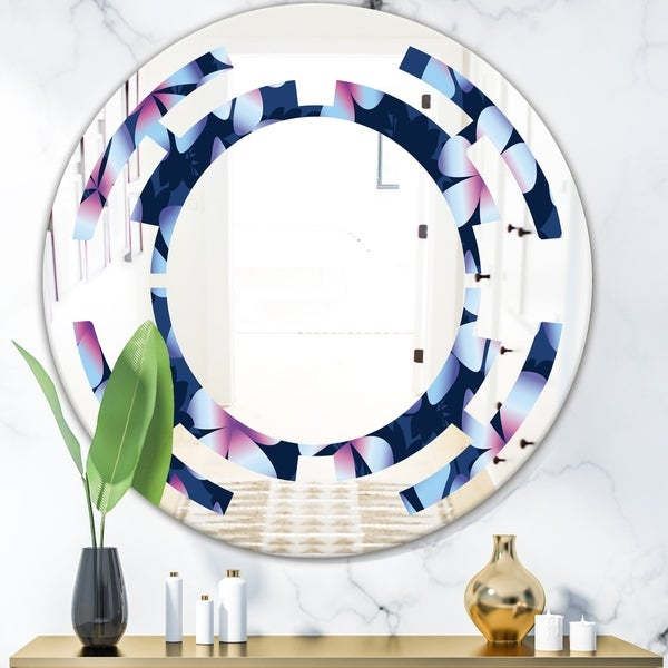 Designart 'Retro Frangipani Flowers' Modern Round or Oval Wall Mirror - Space