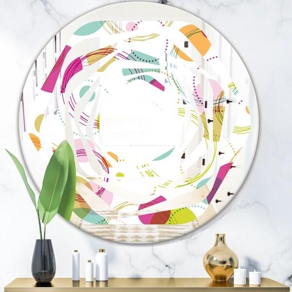 Designart 'Retro Circular Design II' Modern Round or Oval Wall Mirror - Whirl - Multi