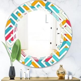 Designart 'Abstract Retro Geometry I' Modern Round or Oval Wall Mirror - Triple C