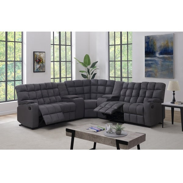 Copper Grove Beilefeld 5 Seat Recliner Sectional with Power Storage Consoles and Wedge