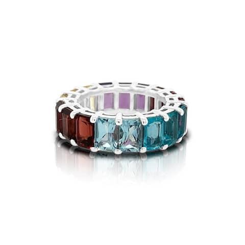 Noray Designs 14K Gold Rainbow Multicolor Gemstone (6X4MM) Eternity Ring