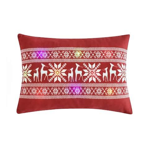 Lush Decor Snowflake & Reindeers Led Light Decorative Throw Pillow