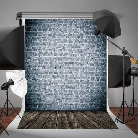 Photography Backdrop Studio Photo Prop 5' x 7' Wooden Floor Grey Wall