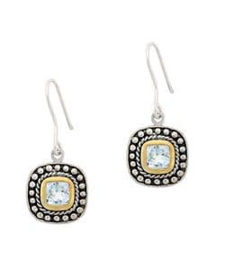 Glitzy Rocks 18k Gold over Silver Two-tone Blue Topaz Earrings