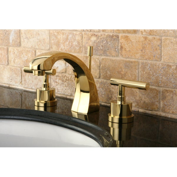 Shop concord double handle widespread polished brass bathroom faucet gold free shipping for Polished gold bathroom faucets