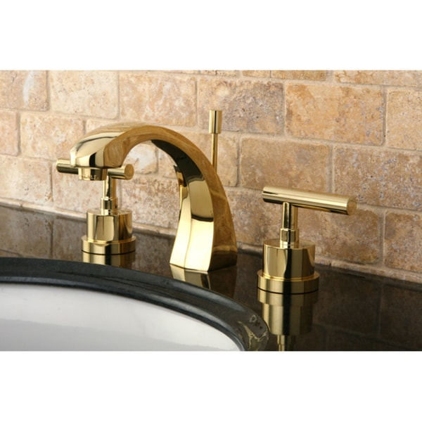 Shop Concord Double Handle Widespread Polished Brass Bathroom Faucet - Gold faucets bathroom fixtures