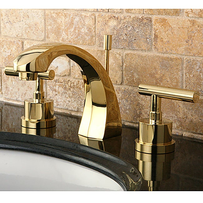 Concord Double Handle Widespread Polished Brass Bathroom Faucet   Gold