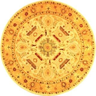 Safavieh Handmade Anatolia Oriental Traditional Ivory/ Gold Hand-spun Wool Rug (4' Round)