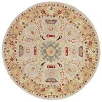 Safavieh Handmade Anatolia Oriental Traditional Ivory/ Gold Hand-spun Wool Rug - 6' x 6' Round