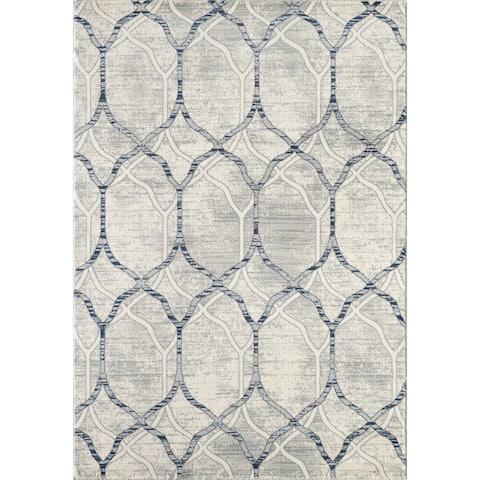 Abani Arto Contemporary Rectangle Geometric Trellis Ivory and Grey Area Rug