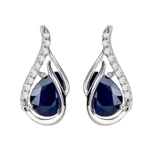 Viducci 10k White Gold Genuine Pear-Shape Sapphire and Diamond Curved Halo Drop Earrings