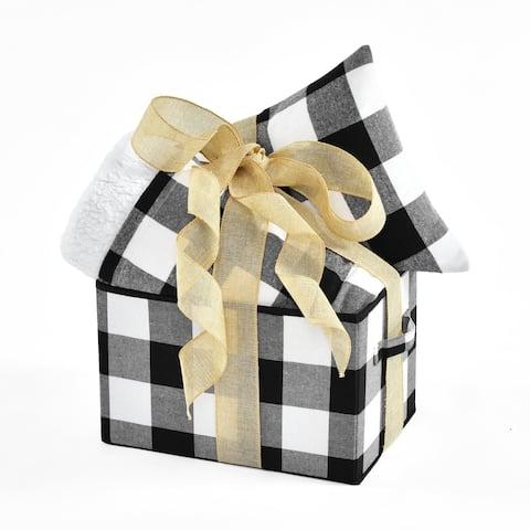Lush Decor Woven Buffalo Check Box-Throw-Dec Pillow 3 Piece Gift Set