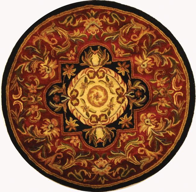 Safavieh Handmade Classic Royal Red/ Black Wool Rug (3'6 Round)