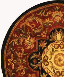 Safavieh Handmade Classic Royal Red/ Black Wool Rug (3'6 Round) - Thumbnail 2