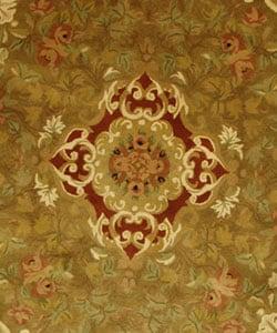 Safavieh Handmade Classic Juliette Gold Wool Rug (3'6 Round) - Thumbnail 1