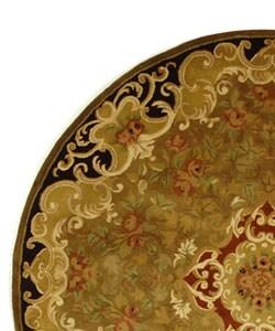 Safavieh Handmade Classic Juliette Gold Wool Rug (3'6 Round) - Thumbnail 2