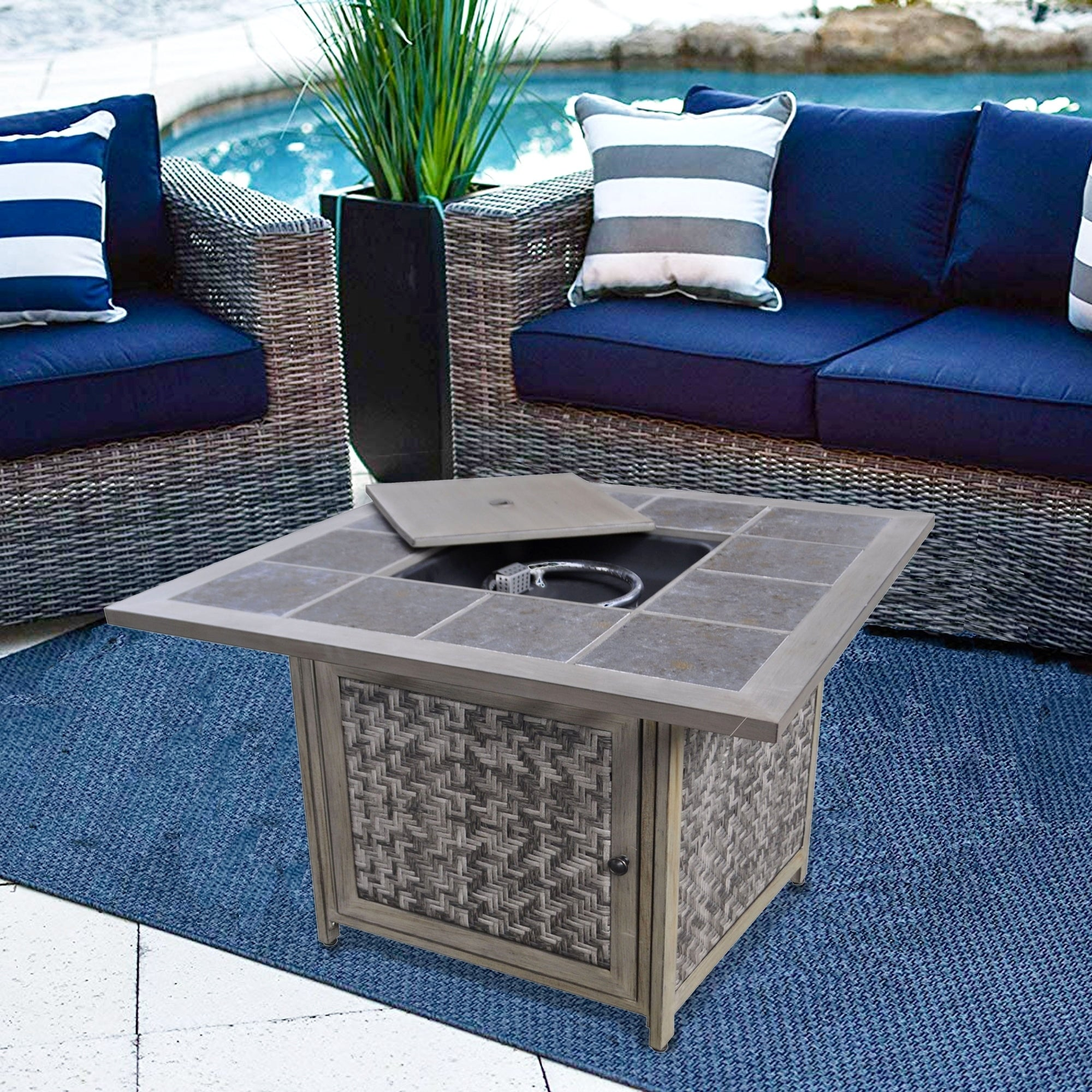 Picture of: Outdoor 37 Square Fire Pit Table Outdoor Propane Fire Pit With Wicker Base For Party Yard Garden Grey Overstock 29944724