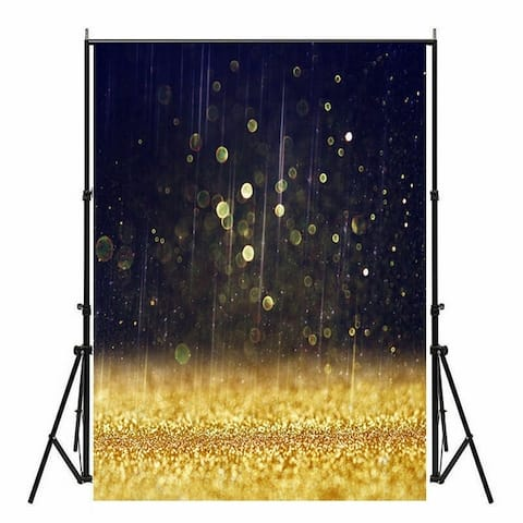 Photography Backdrop Studio Photo Prop 5' x 7' Golden Glitter Rain 27