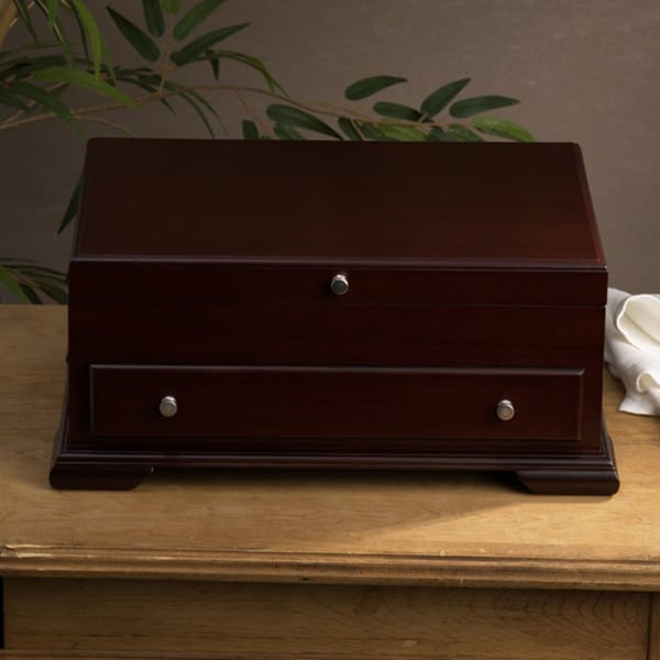 Shop Wallace Walnut Flatware Storage Chest Free Shipping