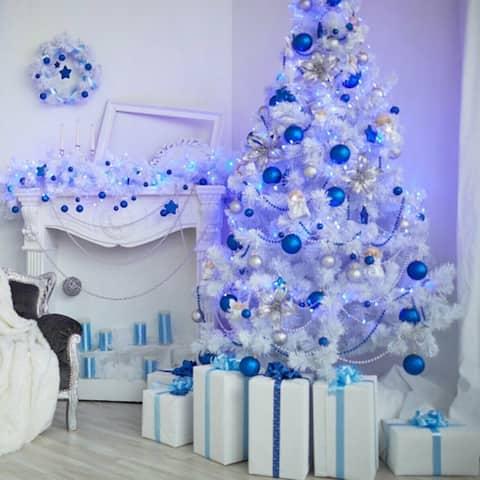 Photography Backdrop Studio Photo Prop 5'x7' Blue White Christmas Tree