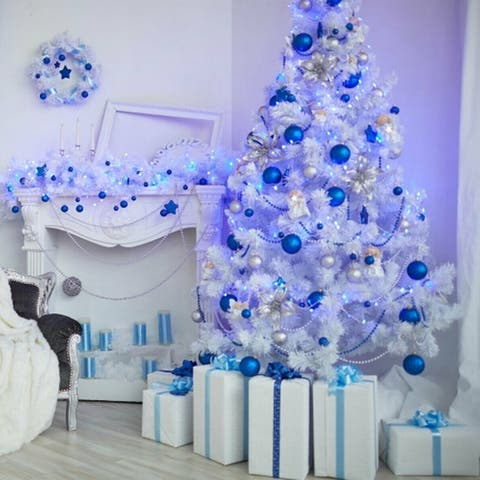 Photography Backdrop Studio Photo Prop 5'x7' Blue White Christmas Tree