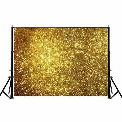 Photography Backdrop Studio Photo Prop 5' x 7' Golden Starry Glitter 18