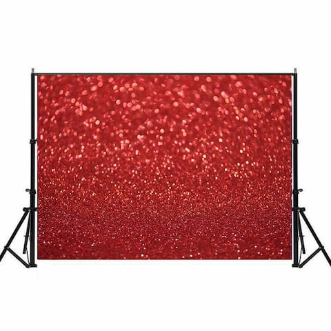 Photography Backdrop Studio Photo Prop 5' x 7' Red Glitter 24