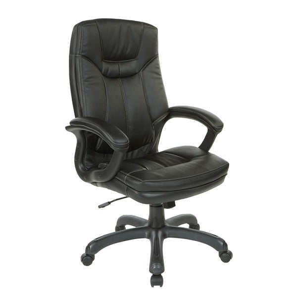 Executive Faux Leather High-Back Office Chair with Contrast Stitching