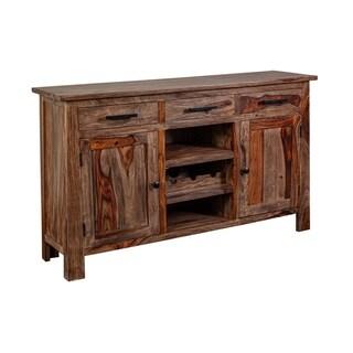 Wanderloot Kalispell Solid Sheesham Wood Bar Sideboard, Harvest