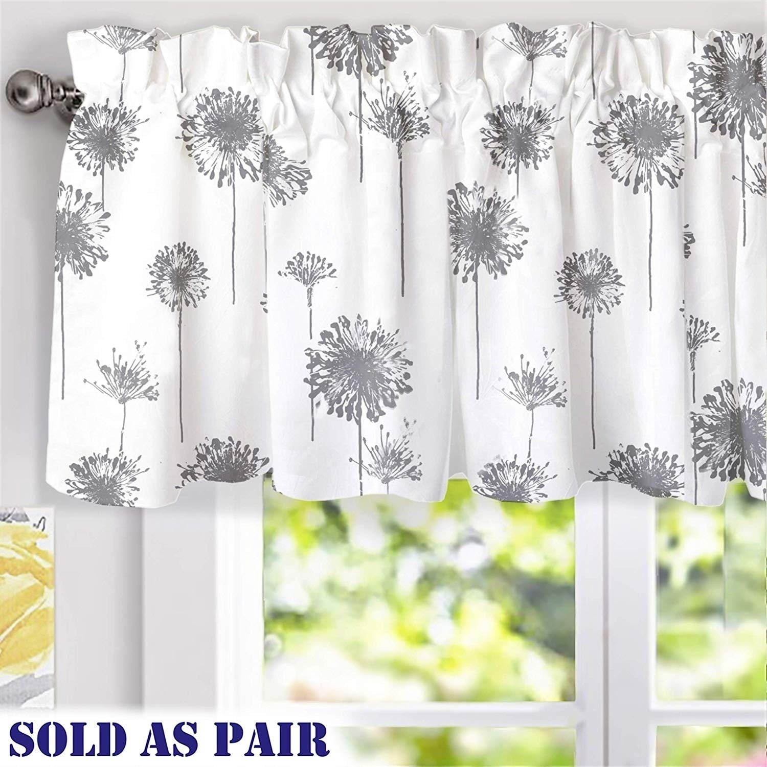 Porch Den Nelly Dandelion Pattern Lined Window Valance Pair Overstock 29957904