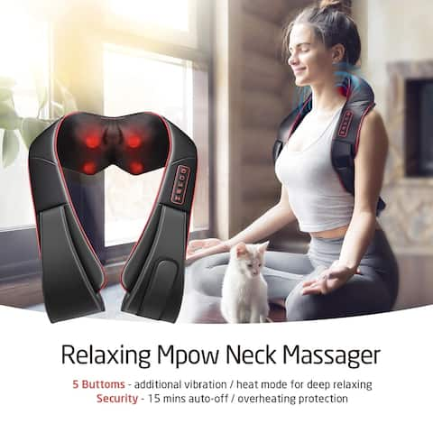 Coutlet Shiatsu Neck and Shoulders Massager Additional Vibration Mode Kneading Massage for Neck Back Shoulder Legs