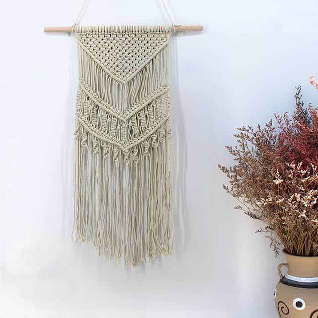 Bohemian Macrame Tapestry Wall Hanging Decorative Blanket Hand Woven Wall Tapestry Cotton Rope Blanket - N/A
