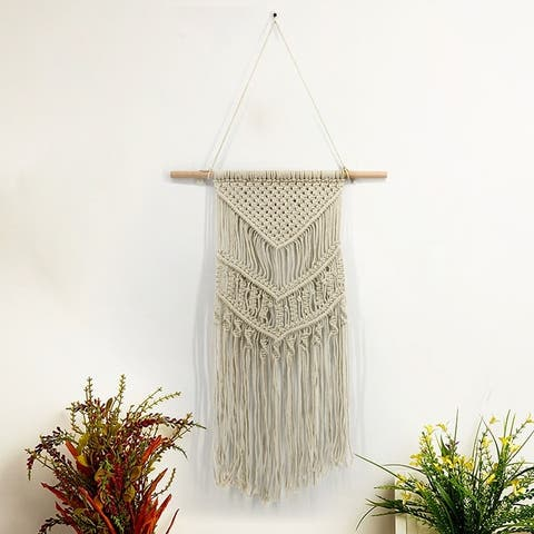 Bohemian Macrame Tapestry Wall Hanging Decorative Blanket Hand Woven Wall Tapestry Cotton Rope Blanket