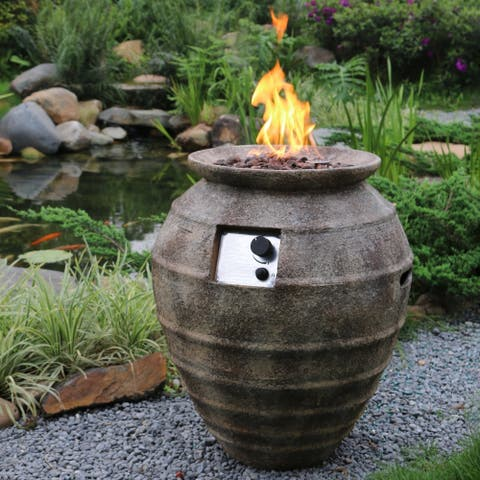 Purutu Brown Concrete Pot Propane Fire Pit by Havenside Home