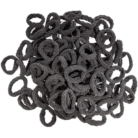 "100 Count Elastic Fabric Hair Ties 5.5"" Dia, Soft and stretchy, Black"