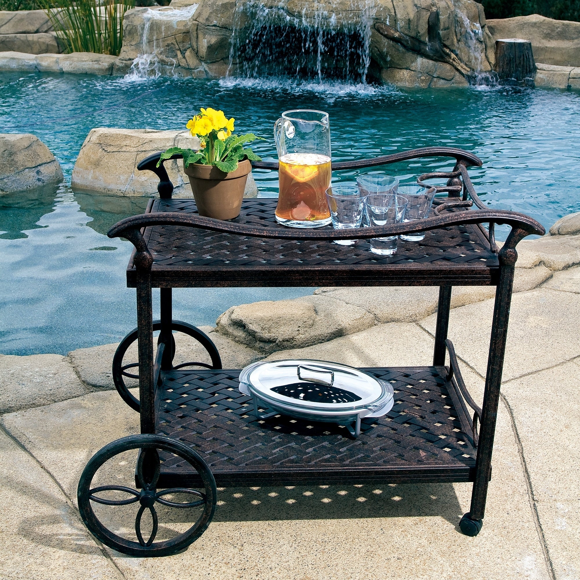 Carter Rolling Bar And Serving Cart Cast Aluminum 2 Tiered Metal Wine Tea Cart With 4 Wheels Kitchen Living Room Dining Room Overstock 29958663