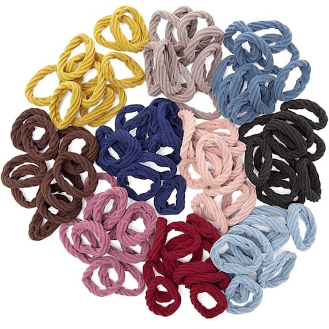 """100 Count Elastic Fabric Hair Ties 5.5"""" Dia, Soft and stretchy, 10 Colors"""