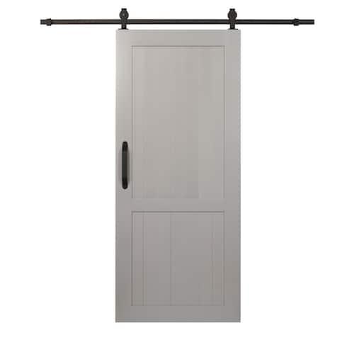 Millbrooke PVC 36-inch x 84-inch H-style Barn Door Kit Satin Silver