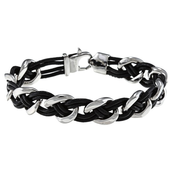 Stainless Steel and Leather Woven Bracelet