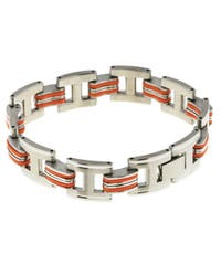 Stainless Steel and Orange Rubber Bracelet