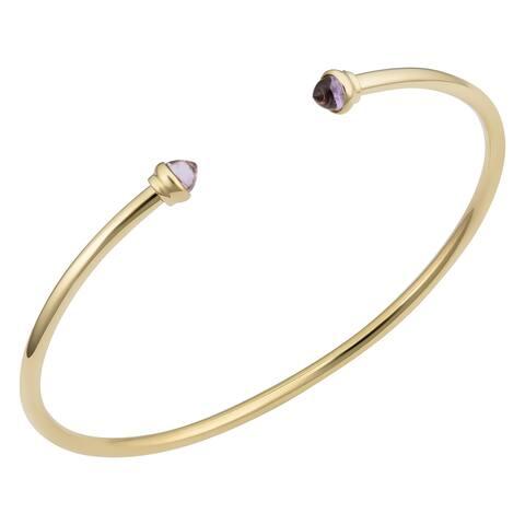 14k Yellow Gold 5 millimeter Cabochon Gemsotne Tip 2.5 millimeter Cuff Bangle Bracelet (Amthyst, Aventurine or Garnet)