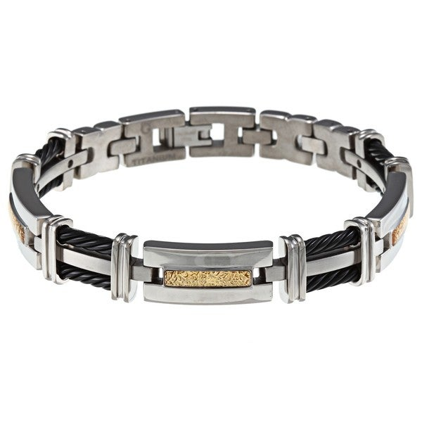 Men's Titanium and Braided Cable Bracelet